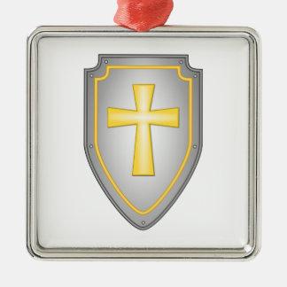 El escudo de la fe adorno navideño cuadrado de metal