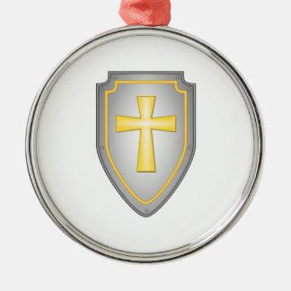 El escudo de la fe adorno navideño redondo de metal