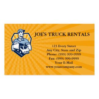 El escudo del camión de reparto del hombre del tarjetas de visita