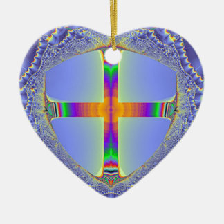 El escudo - diseño del fractal por L.Funk Adorno Navideño De Cerámica En Forma De Corazón