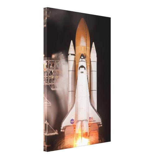 El esfuerzo del transbordador espacial quita impresión en lienzo