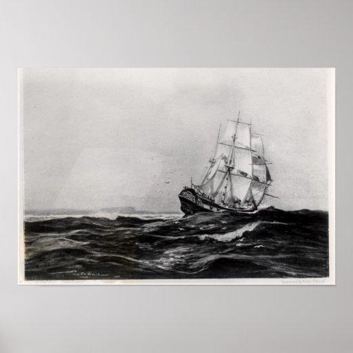 El esfuerzo en Sea, 1900, grabado por Lowy Póster