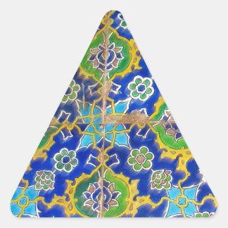 El esmalte antiguo de Iznik teja era del otomano Pegatina Triangular