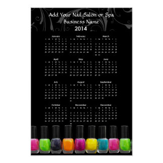 El esmalte de uñas colorido embotella el calendari posters