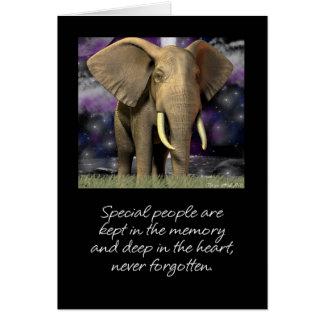 El espacio en blanco de la tarjeta del elefante nu