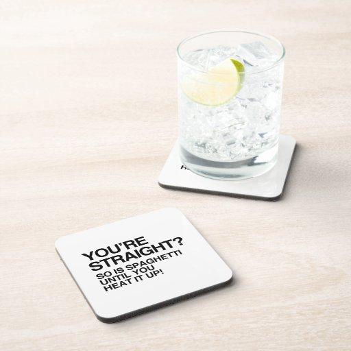 El ESPAGUETI ES RECTO HASTA QUE USTED LO CALIENTE  Posavasos De Bebidas