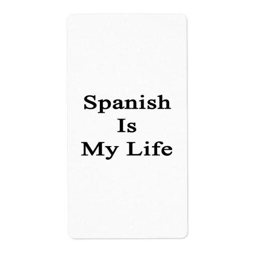 El español es mi vida etiquetas de envío