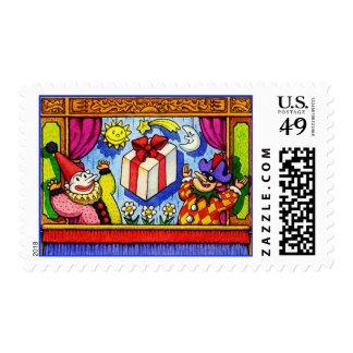 El espectáculo de marionetas colorido sella las timbres postales