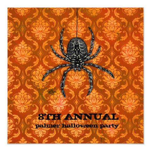 """El espectro anaranjado Halloween de la araña de la Invitación 5.25"""" X 5.25"""""""
