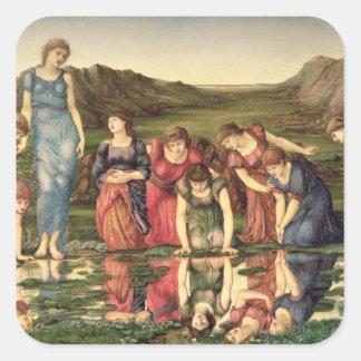 El espejo de Venus, 1870-76 (aceite en lona) Pegatina Cuadrada