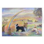 El esperar en el puente del arco iris tarjeta