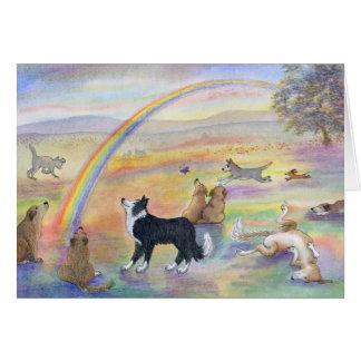 El esperar en el puente del arco iris tarjeta de felicitación
