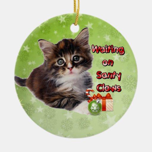 El esperar en las garras de Santy Ornaments Para Arbol De Navidad