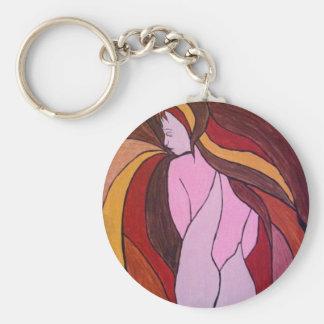 El esperar - impresión del arte llavero redondo tipo pin