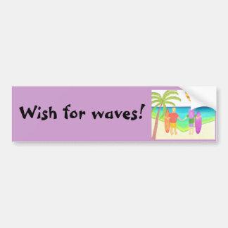 El esperar ondas pegatina de parachoque