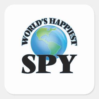 El espía más feliz del mundo pegatina cuadrada