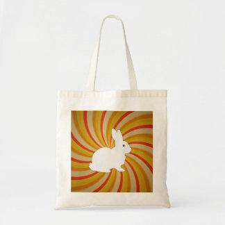 El espiral circunda colorido con el conejito blanc bolsas de mano