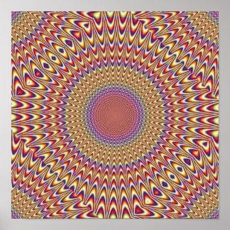 El espiral del círculo de la ilusión óptica amplía póster