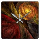 El espiral del cuadrado del arte abstracto de la v relojes de pared