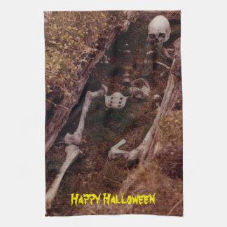 El esqueleto asustadizo de Halloween deshuesa el Toallas De Cocina