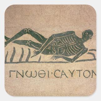 El esqueleto de descanso con el subtítulo 'sabe calcomania cuadradas personalizada