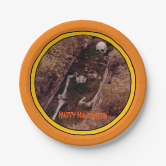 El esqueleto de Halloween deshuesa la foto Platos De Papel