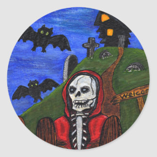 El esqueleto del parca golpea el cementerio pegatina redonda