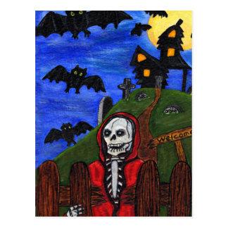 El esqueleto del parca golpea el cementerio postal
