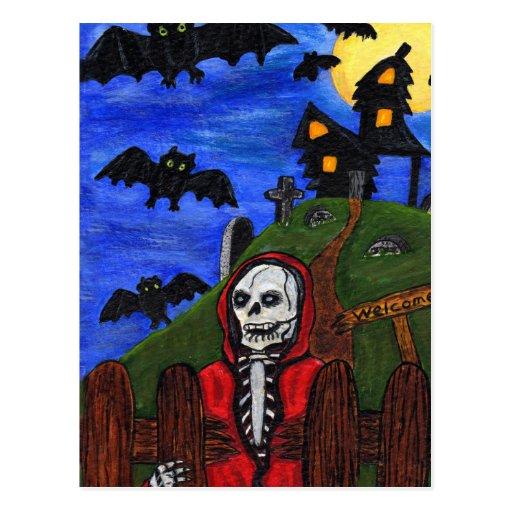 El esqueleto del parca golpea el cementerio tarjetas postales