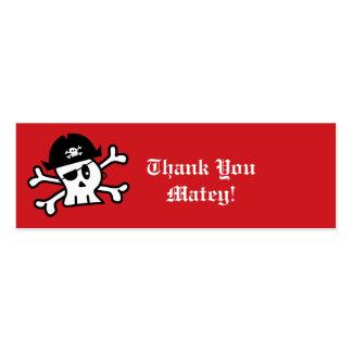 El esqueleto del pirata embroma la etiqueta del tarjetas de visita mini
