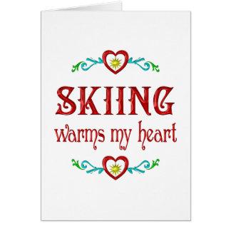 El esquí calienta mi corazón tarjeta de felicitación