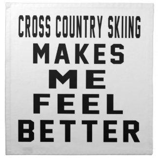 El esquí del campo a través hace que siente mejor servilleta imprimida