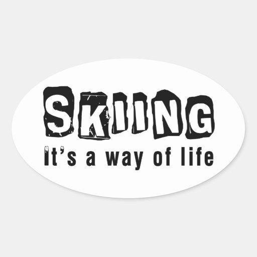 El esquí él es una manera de vida pegatina óval