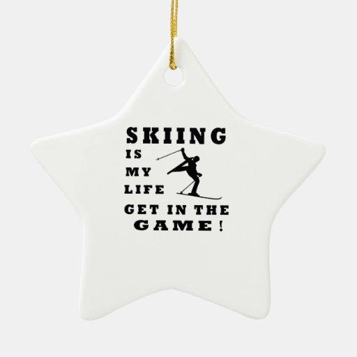 El esquí es mi vida adorno de cerámica en forma de estrella
