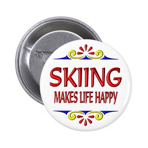 El esquí hace vida feliz pin redondo 5 cm