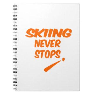 El esquí nunca para libro de apuntes
