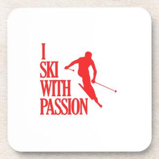 el esquí se divierte diseños posavasos de bebidas