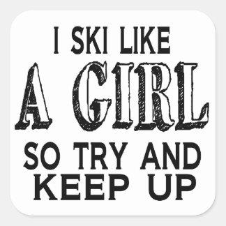 El esquí tiene gusto de un chica pegatina cuadrada
