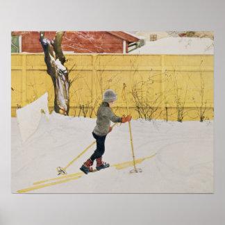 El esquiador, c.1909 póster