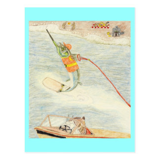 El esquiador del agua tarjeta postal