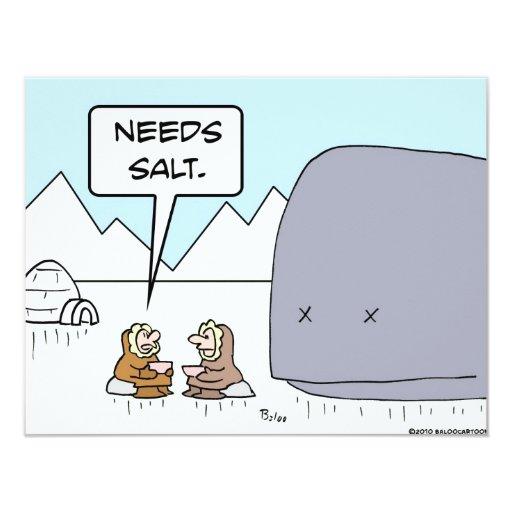 el esquimal de la ballena necesita la sal invitacion personalizada