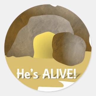 ¡Él está vivo! Etiqueta Redonda
