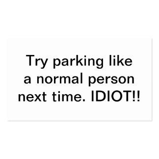El estacionamiento del intento tiene gusto de un tarjetas de visita