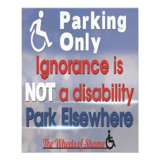 """¡El estacionamiento lisiado, ignorancia no es una  Folleto 4.5"""" X 5.6"""""""