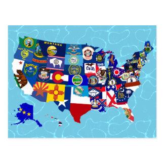 El estado americano del mapa señala el mosaico por postal