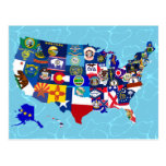 El estado americano del mapa señala el mosaico por tarjetas postales