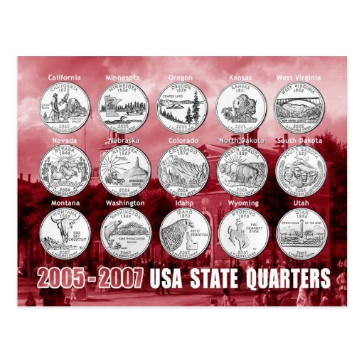 El estado de los E.E.U.U. cuartea (las monedas) Postales