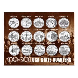 El estado de los E.E.U.U. cuartea (las monedas) Postal
