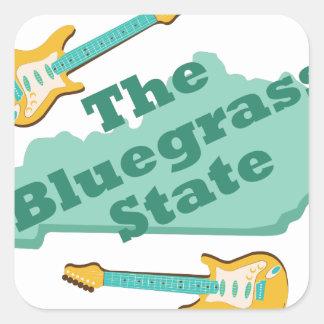 El estado del Bluegrass Pegatina Cuadrada
