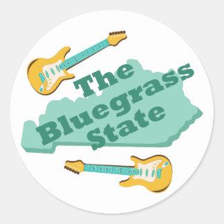 El estado del Bluegrass Pegatina Redonda